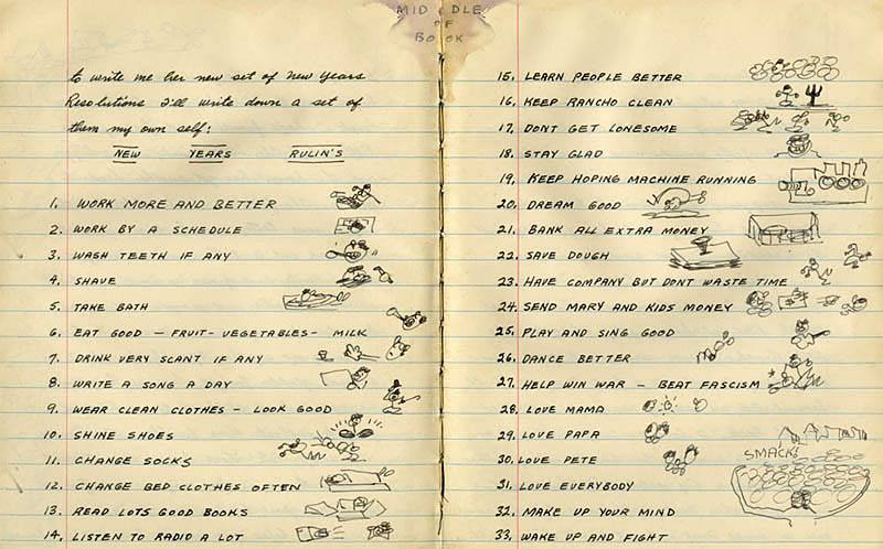 Woody Guthrie's 1942 New Year's Resolutions.